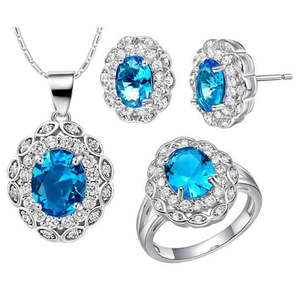 crystal gem Zirconium 925 Silver pendant Earrings ring Women Gift suits custom-made suit high-end European crystal gemn popular cr
