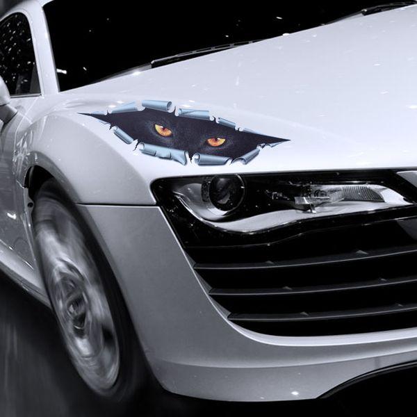 10 pçs / lote legal 3d car styling olhos de gato engraçado espreitar etiqueta do carro à prova d 'água espreitando monstro auto acessórios