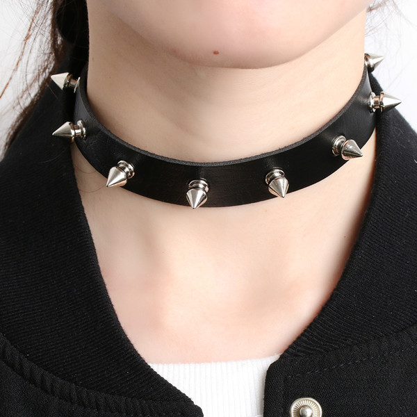 1pc Chic Punk Rock Gothic Unisex Women Men Leather Silver Spike Rivet Stud Collar Choker Necklace Statement Jewelry