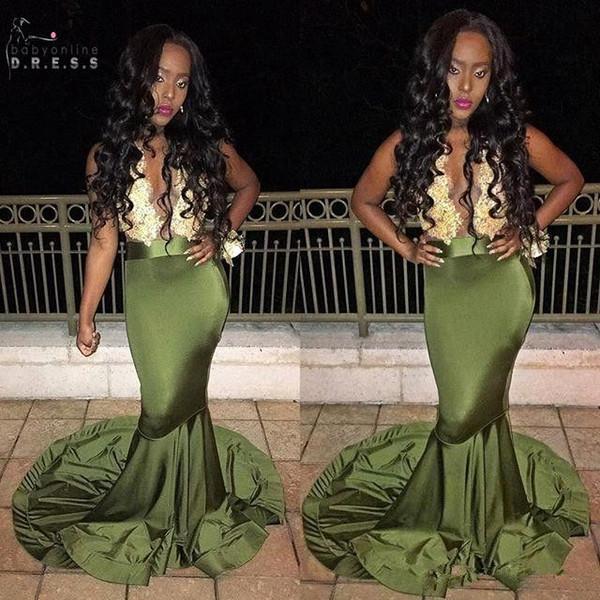 2K17 Sexy Long Prom Dresses Deep V neck Sleeveless Lace Top Stretch Satin Floor Length Black Girl Mermaid African Evening Dresses 2017