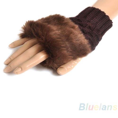 Wholesale- Fashion Women Faux Rabbit Fur Hand Wrist Warmer Winter Fingerless Knitted Gloves