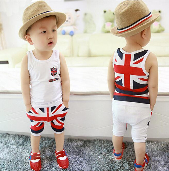 High quality baby boy clothes 2017 Summer cotton baby clothing set 2pc for 0- 3 years old boys vest suit G272