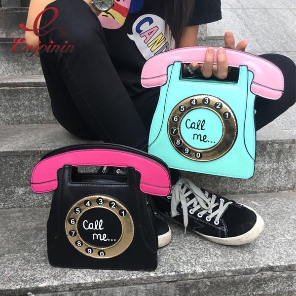 Gros-Drôle personnalité mode téléphone forme lettres dames pu sac à main en cuir chaîne sac à bandoulière rabat bandoulière messenger sac à main