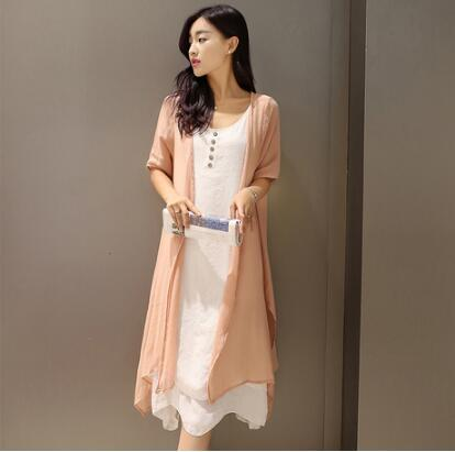2017Hot Sale New Arrival Summer New Women Fashion Half-sleeved O-neck Cotton and Linen Loose Solid Dress + Women Cappa Two-piece Suit 320#