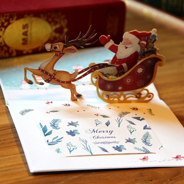 New 3D Handmade Christmas Cards Creative Kirigami & Origami Pop UP Greeting Card with Santa Ride Postcards free shipping