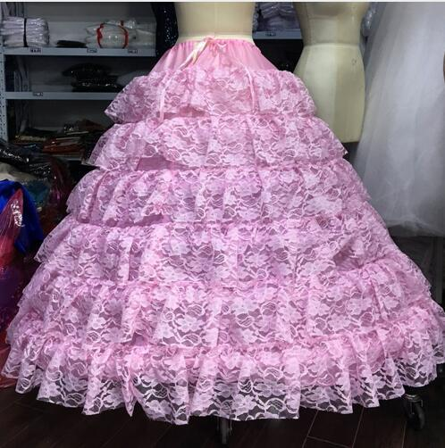 ce2a231316fc Moda multi camadas de renda Rosa vestido de baile anágua Diâmetro Underwear  Crinolina Acessório De Casamento