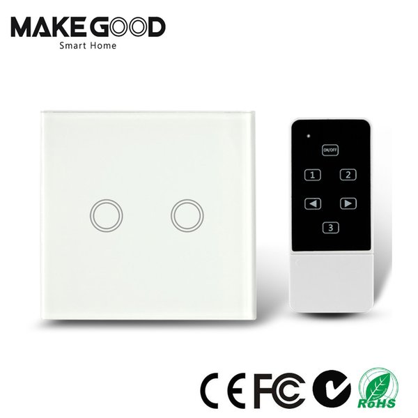 Wholesale-Makegood UK standard 2 Gang 2 way Touch Light Switch with Wireless Remote Control,RF433Mhz Glass panel smart wall switch