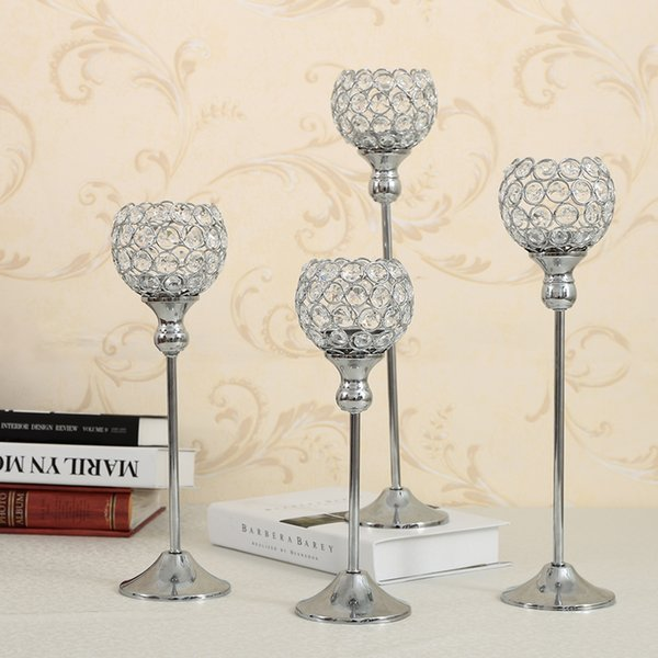 Crystal Metal Candle Tealight Holders Stand Candlesticks Candelabrum Wedding Coffee Bar Party Table Centerpieces Candelabra Home Decoration