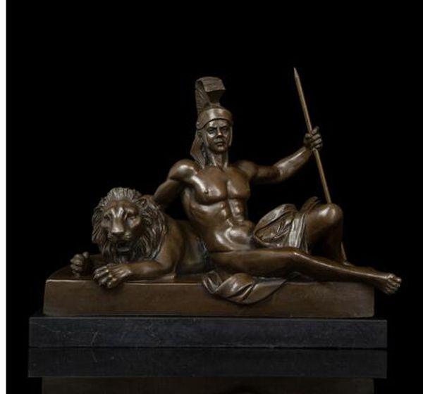 Artes Artesanato De Cobre Vida Abstrata Clássica Tamers Escultura Homem Arte Do Vintage e Tigre Estátuas de Bronze Estatueta Arte Coleção Vida de um