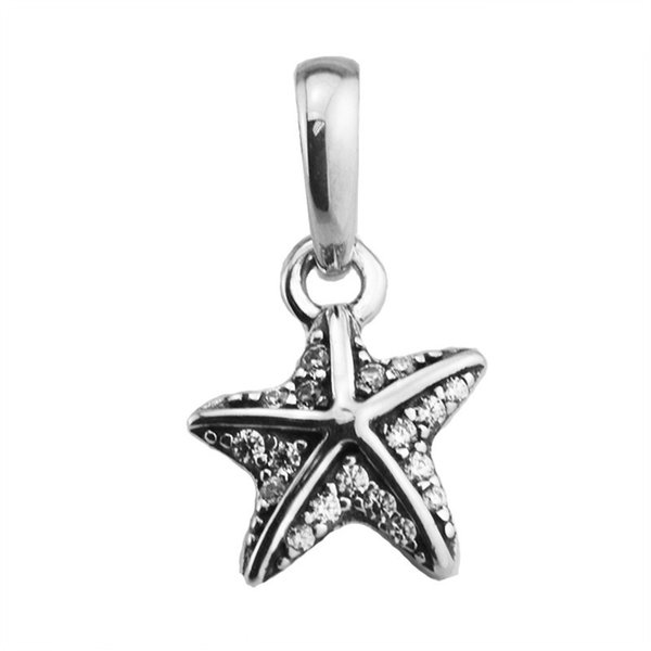 New 100% 925 Sterling Silver Bead Charm Tropical Starfish/Clear Crystal Pendant Beads Fits Brand Bracelets DIY Jewelry Making Accessories