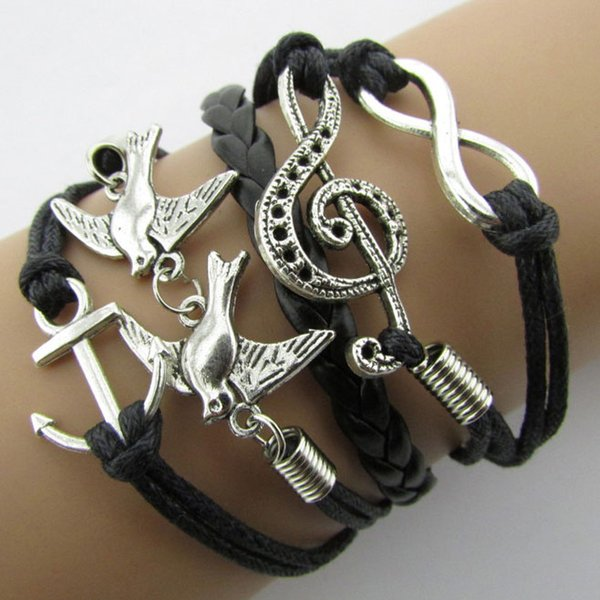 best selling Braided Leather Handmade Bracelet Mutilayer Love Infinity Anchor ID Pearl Bracelets Love Peach Heart Cross Bird Charm Pearl Bracelets New