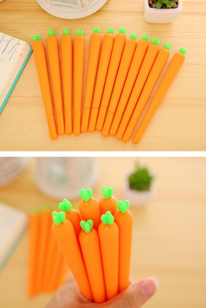 best selling DHL 200 PCS Creative Cute Black Refill Neutral Pen Stationery Korean Personalized Signature Gel Pens Student Carrot Water-Based Pen