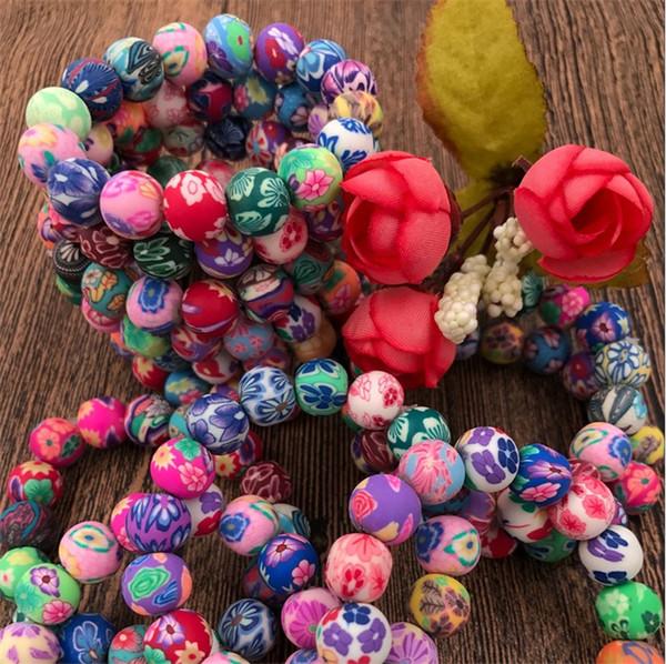 Nouveau 10mm Polymer clay clay perle 50pcs Mode bracelets en argile polymère Bohemian perlé bracelets, cadeau de l'enfant femmes bijoux C081