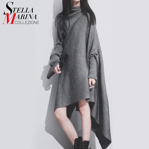 Großhandel-Neue 2017 European Fashion Frauen Strickkleid Schwarz Grau Schal Kragen Unregelmäßige Beiläufige Vintage Lose Pullover Kleid Strickwaren 1803