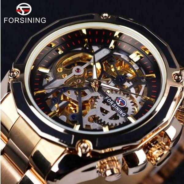 Forsining Steampunk Gear Design Transparent Fall Automatische Uhr Gold Edelstahl Skeleton Luxus Herrenuhr Top-marke Luxury + Uhr box