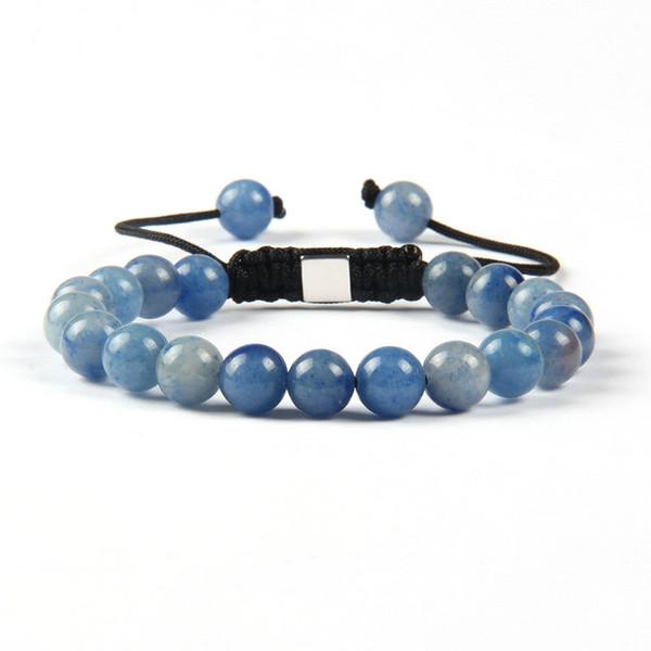 Atacado Shambhala Pulseiras 8mm Olho de Tigre Natural, Lapis Lazuli, Luz Verde E Azul Aventurine Pedra Beads Com Pulseira De Prata Quadrado