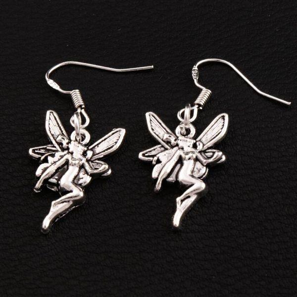 Flying Angel Earrings 925 Silver Fish Ear Hook 40pairs/lot Antique Silver Chandelier E195 37x14.7mm