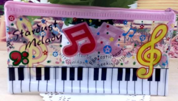 New 24pcs Piano music notation Transparent creative pencil case/cute pencil pouch/ cute pen bag/Stationery Bags Gift Pink