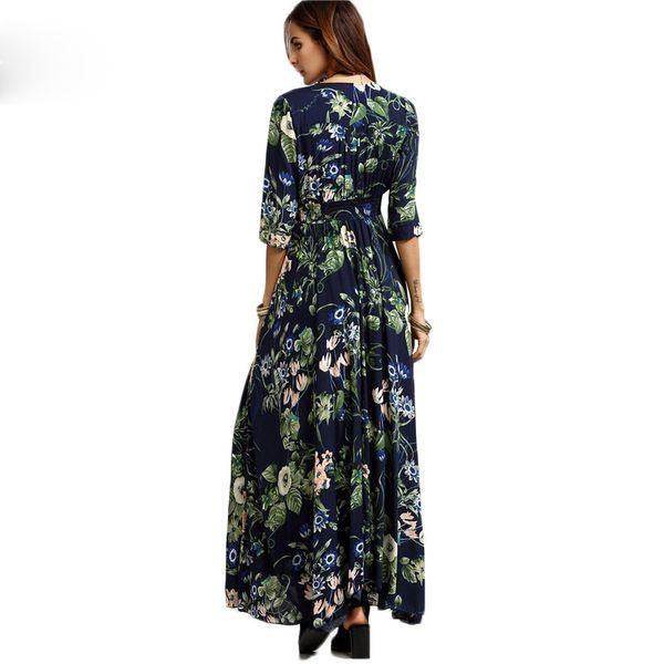 Long Floral Maxi Dress Boho Long Dress Elegant Beach Navy Floral Print Half Sleeve Button Front A Line Shirt Dress