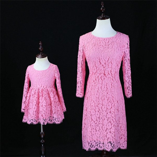 Mom Girls Matching Dresses Mother Daughter Pink Lace Dress 2017 Kids Girls Embroidery Dress Women Dress Family Match Outfits Clothing B838