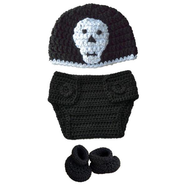 Super Cool Newborn Knit Skull Costume,Handmade Crochet Baby Boy Girl Skull Hat Diaper Cover Booties Set,Infant Halloween Costume Photo Props