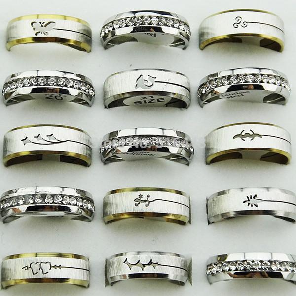 10pcs di stile della miscela Frosted Silver Gold ceco strass acciaio inossidabile anelli di fidanzamento di nozze all'ingrosso di modo A313 Jewelry