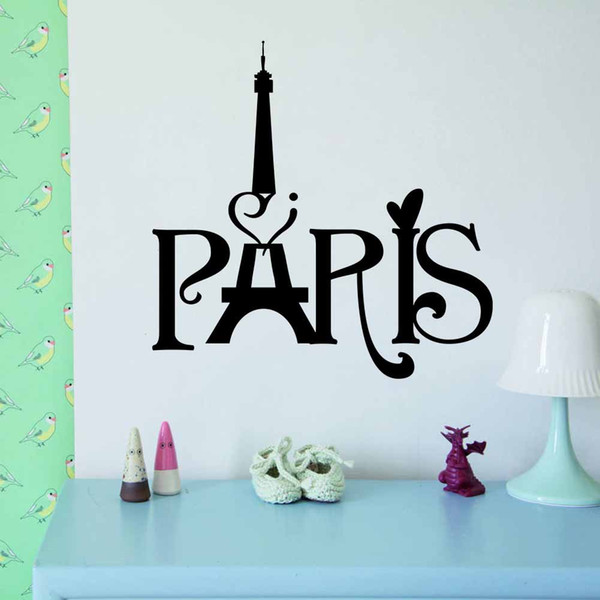 PVC Cheap Personalized Creative PARIS Tower English Text Pattern Living Room  Bedroom TV Sofa Background Decoration