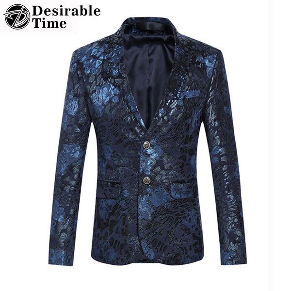 Оптовая торговля-мужская бархат лоскутное блейзеры и куртки новое Прибытие 2017 мода этап партии случайные цветочные блейзеры для мужчин DT369