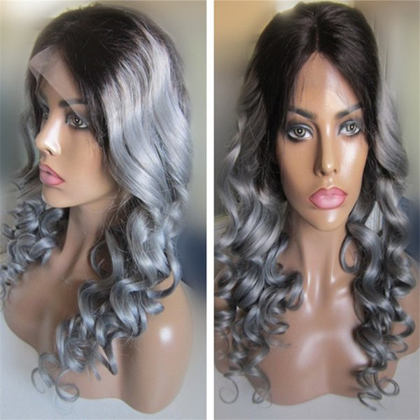 High quality 1b gray ombre color loose wave brazilian remy hair lace front wig for women free shipping