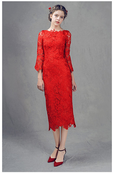 Elegant Lace Party Dresses Tea-Length Cocktail Gowns 3/4 Long Sleeves 2017 Summer Style Cocktail Gowns Cheap