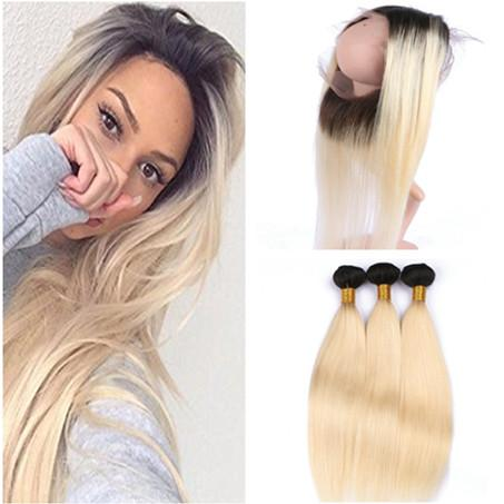 Chinese Blonde Ombre Human Hair With 360 Lace Frontal Two Tone #1B/613 Ombre Virgin Hair 3Bundles With Full Frontal 360 Lace Closure