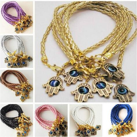 top popular new 50Pcs lot Mixed HAMSA HAND Evil Eye Leather cord String Bracelets Lucky Charms Pendant Gift 20cm 2021