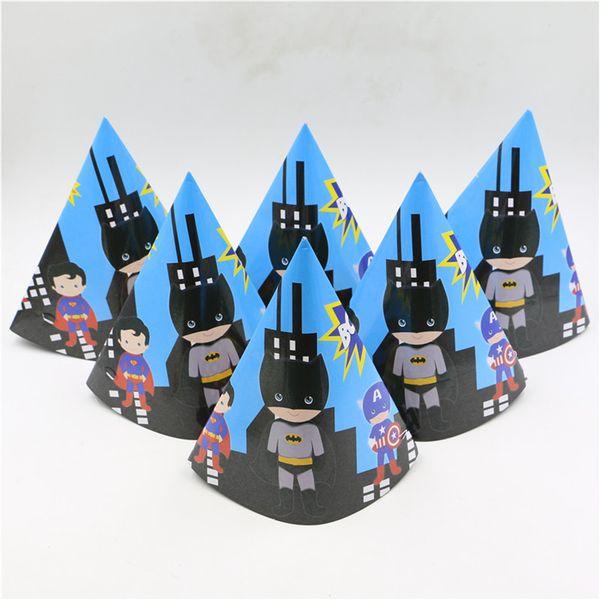 Atacado-6pcs fontes do partido torcendo brinquedos papel tricorn chapéu dos desenhos animados adorável superhero cap crianças aniversário decoratin