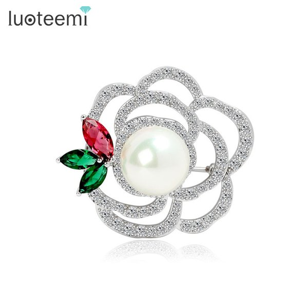 Fashion Rose Flower Wedding Brooch Cubic Zirconia White Imitation Pearl Brooch for Women Gift Wholesale LUOTEEMI