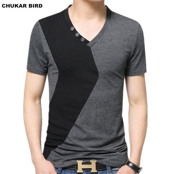 Wholesale- CHUKAR BIRD Mens V Neck T-Shirts Luxury Casual Slim Fit Stylish Short Sleeve T Shirt Men T-shirt Men Tops M L XL 2XL 3XL 5XL