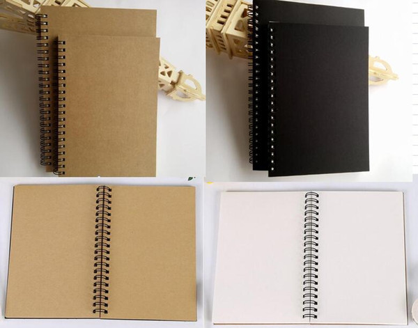 best selling 21x14cm Kraft Paper Notepad Office school Supplies Creative Sketchbook Graffiti Notepads Blank coil Notebook outdoor travelling pocket dairy