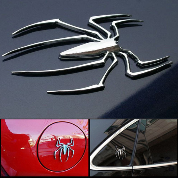 3D Car Stickers Universal Metal Spider Shape Emblem Chrome Car Truck Motor Sticker Gold/Silver Badge Decal Sticker Car styling