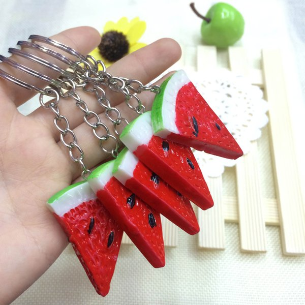 Cute Korean food simulation fruit watermelon keychain, mobile phone pendants opened small gifts wholesale supply stall