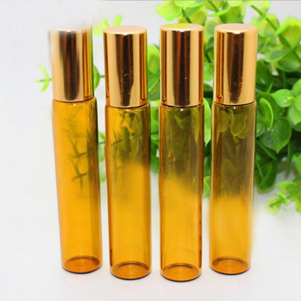 600pcs/lot Refillable Bottles 10ml Glass Roll on Bottles Aromatherapy Essential Oil Roller Bottles With Metal Ball And Black Cap