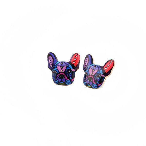 Fashion Colorful Animal Oil Stud Earrings French Bulldog Earring Puppy Dog Stud Earrings for Women Three Color For Choose