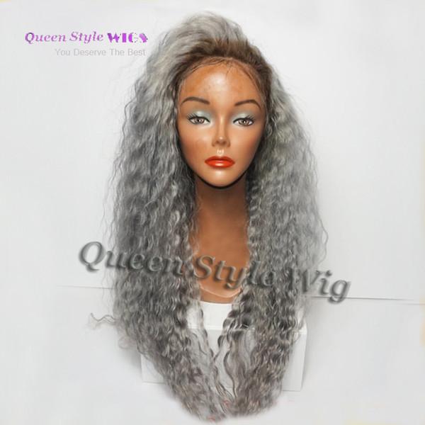 Sexy gris perruques 1b / gris sans colle synthétique avant de lacet perruque en vrac bouclés résistant à la chaleur cheveux perruques pour les femmes noires livraison gratuite