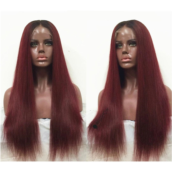 Human Hair Wig 1bT99j Brazilian Ombre Burgundy Red Lace Front Wigs Virgin Brazilian Straight Human Full Lace Wigs For Black Women