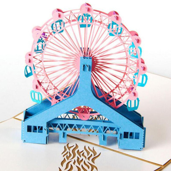 (10 unid / lote) Moda 3D London Eyes Diseño Pop Up Tarjetas de Felicitación Papel Hecho A Mano Arte Tallado Ferris Wheel Tarjeta de visita