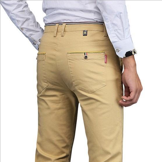 Vente en gros - Pantalons Slim Fit Hommes Plus Size Pantalon formel hommes maigre pantalon de costume formel Casual Pantalones Hombre noir gris bleu kaki
