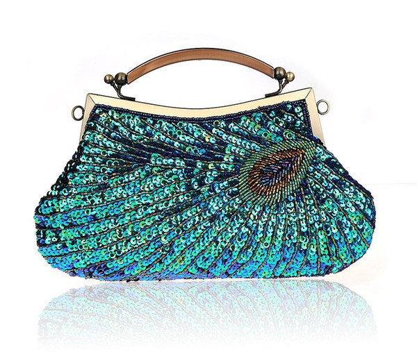 d107ec70c0 New Women Handmade Beaded Handbag Peacock Feather Pattern Day Clutch Purse  With Shoulder Chain Lady Evening