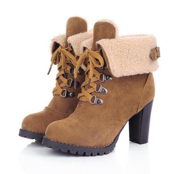 Wholesale-New 2016 Winter Thick Heel Lace Up Women Boots Vintage Flock Round Toe Platform High Heels Ankle Boots For Women Plus Size 34-43