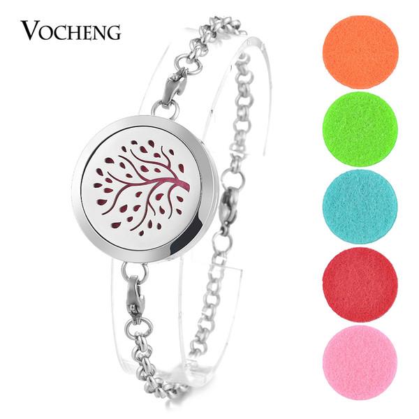 Aromatherapy Locket Bracelet Perfume 316L Stainless Steel Magnetic Bangle Family Tree 2 Styles without Felt Pads VA-290