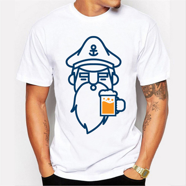 2018 Date Hommes Mode Bière Homme Conception T shirt Nouveauté barbe imprimé Tops Gentleman Personnalisé Imprimé À Manches Courtes T-shirts