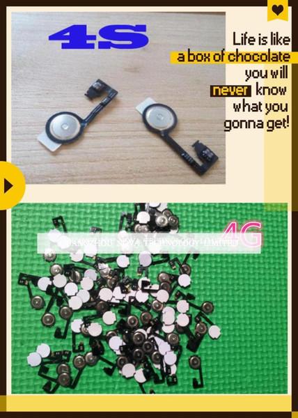Nero / Bianco casa Menu Button con Flex Cable Cap chiave per il iPhone 4 4G 4S 4GS casa flessione del tasto; Spedizione gratuita