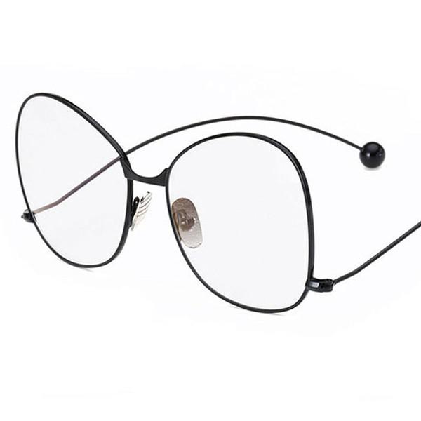 New Fashion eyewear Oversized round women glasses cute clear lens glasses brand vintage Metal big frame eyeglasses